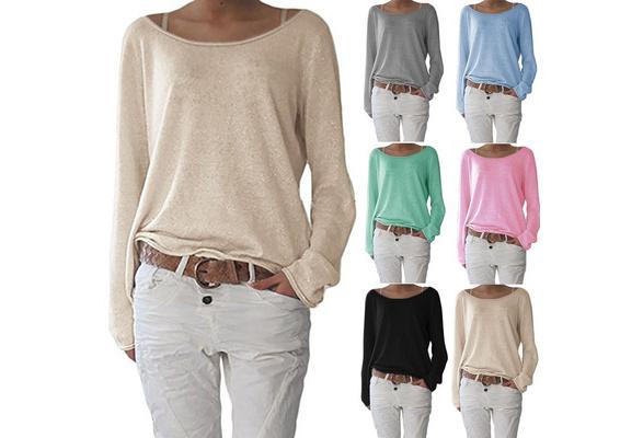 Women Knitted Tunic Tops Cotton Summer Ruffled Long Sleeve O-neck Basic Tee Shirt Korean Female Solid T-shirt Femme ~A1