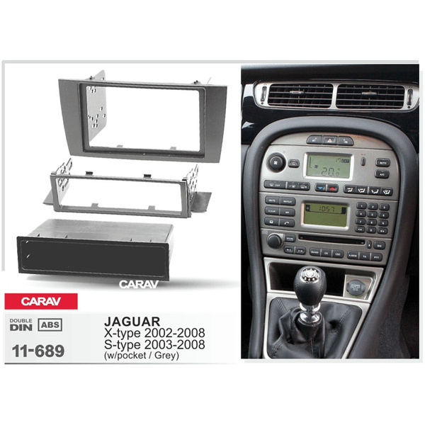 Double Din Stereo Facia Kit BLACK Jaguar S type 02 on