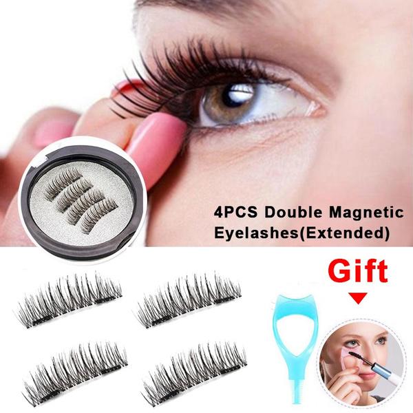 be85498a1d2 4Pcs/Set Hot Reusable 3D Magnetic False Eyelashes Long Thick Natural ...