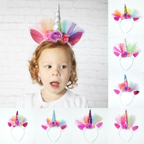 Lovely Unicorn Horn Head Party Adult Kid Headband Fancy Dress Cosplay