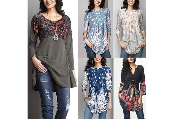 2018 New  Women Fashion Vintage  Floral Long Sleeve Patchwork Cotton Tunic Top S~5XL