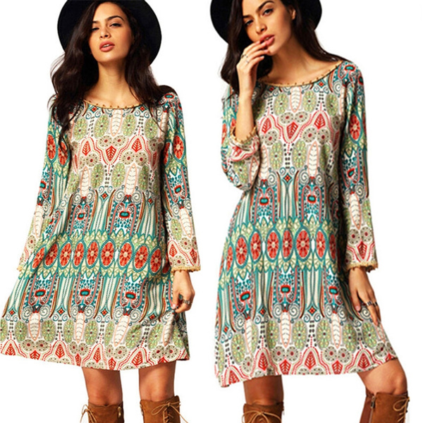 Fashion Women\'s Summer Bohemian Style Dress Long Sleeves Sundresses Female  Casual Loose Dress