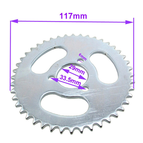FishMotor 29mm 44 Tooth T8F Rear Chain Sprocket For 2 Stroke 43cc 49cc  Engine Pocket Bike Chinese Mini Moto ATV Quad Goped Scooter