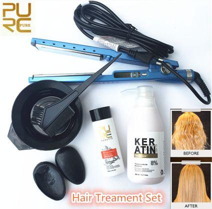Hot Brand PURC Brazilian Keratin Treatment Straightening Hair(5%8%12%) &  Purifying Shampoo for Hair Moisture & Liquid Container & Hair Straighteners