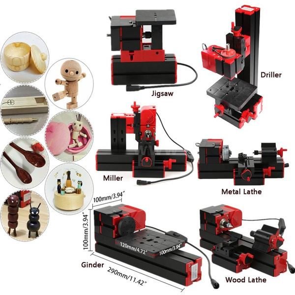 6 in 1 Mini DIY Multi-functional Motorized Transformer Metal Lathe Wood  Lathe Multipurpose Machine Tool Kit(Jigsaw Grinder Drilling Sanding Turning