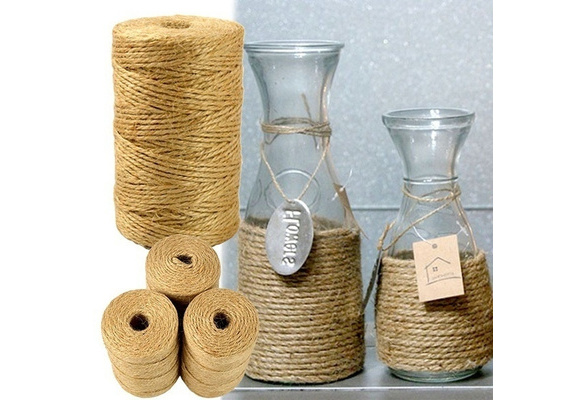 Jute Twine 100M Natural Sisal 2mm Rustic Tags Wrap Wedding Decoration Crafts Twisted Rope String Cord Events Party Supplies (color:brown)