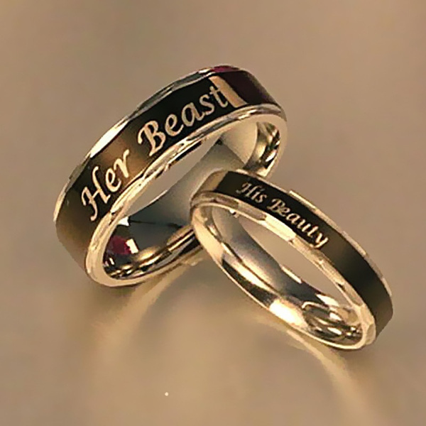 1 Pcs Her Beast His Beauty Ring Couple Rings Wedding Jewelry For