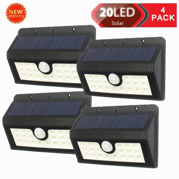 [4 Pack] 20 Lampe Solaire Jardin led sans fil, MPOWTECH Luminaire Exterieur  Détecteur de Mouvement avec Trois Modes Intelligents / Eclairage Exterieur  ...