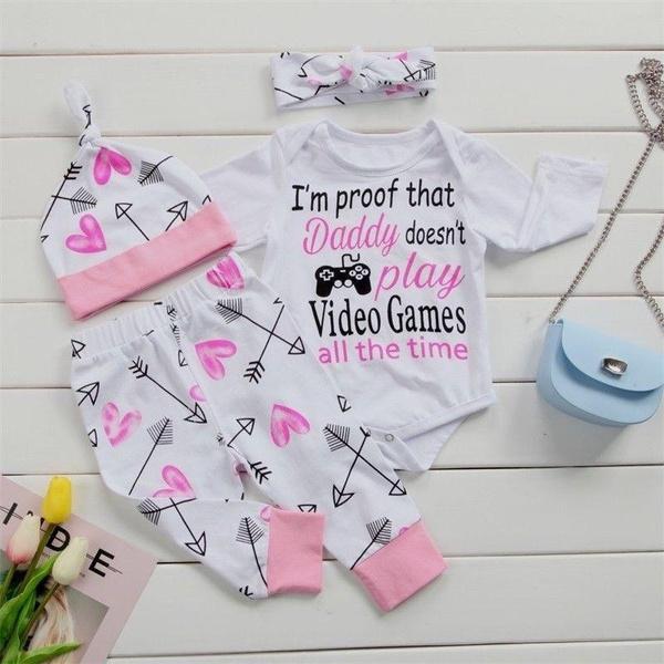 4PCS Newborn Baby Girls Outfit Clothes Romper Jumpsuit Bodysuit+Floral Pants Set