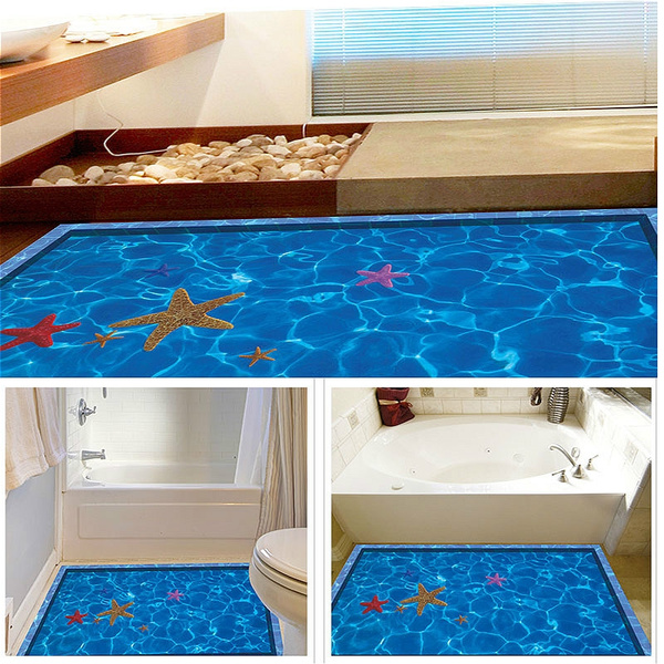 3D Cartoon swimming pool Wall, Floor, Decals, Creative, Kid, Room,  Bathroom,, Home, Decor, Stickers