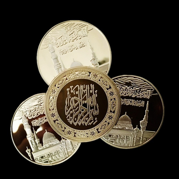 3pcs /lot The brand new Saudi Arabia Rock Dome Arabian Islam Moslem 24k  real gold plated souvenir metal coin Commemorative Coin Collection