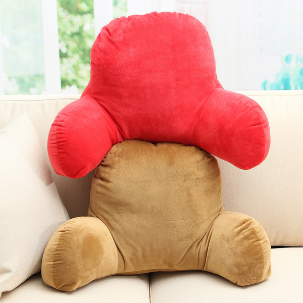 Plush Backrest Pillow Bed Cushion Support Reading Back Rest Arms Chair Lounger