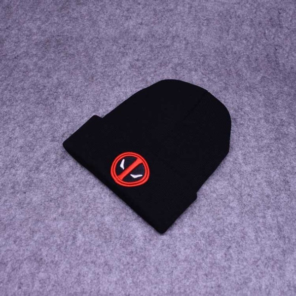 Wish Deadpool Pattern Patch Knitting Wool Cap Street Pure Color