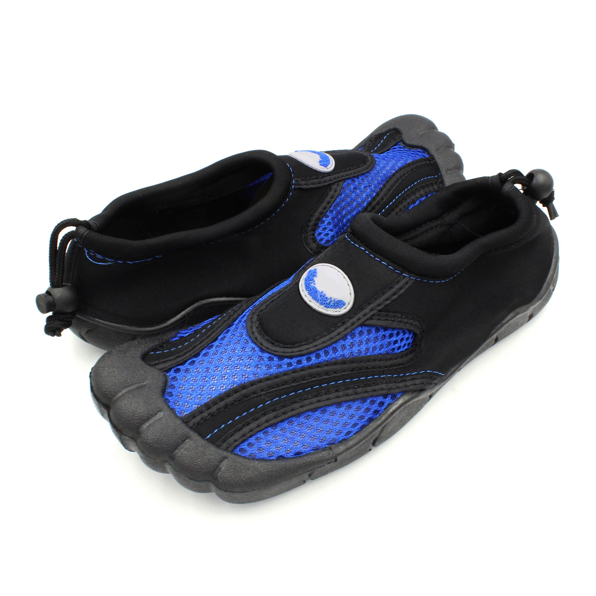 56f0b8063 Water friendly and quick drying material. Drawstring closure. Heavy tread  on the bottom for slip resistance. Flexible sole. Waterproof toe coating
