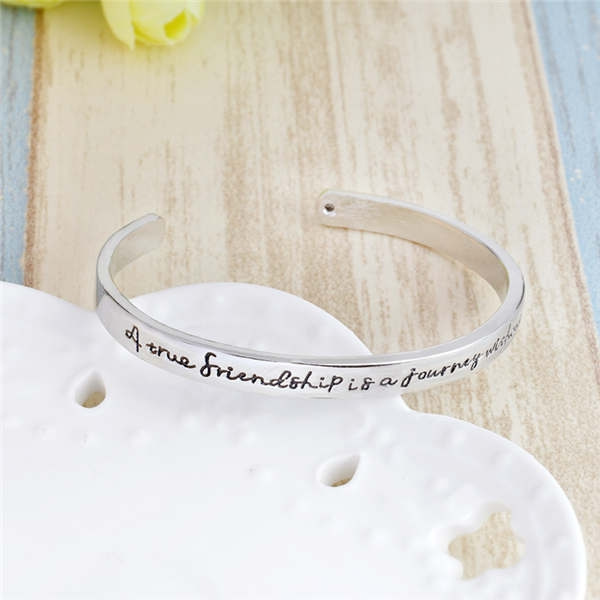 a true friendship is a journey out an end opening bangle