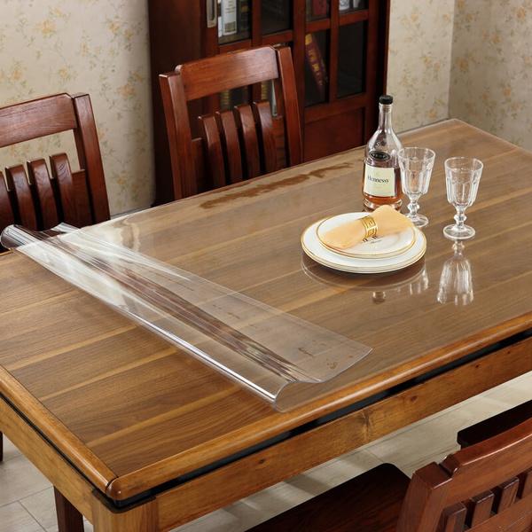Pvc Transparent Wipe Clean Tablecloth Mat Glass Effect Waterproof