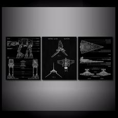 Geek, Decor, starwarsdestroyerblueprint, paintingcanva