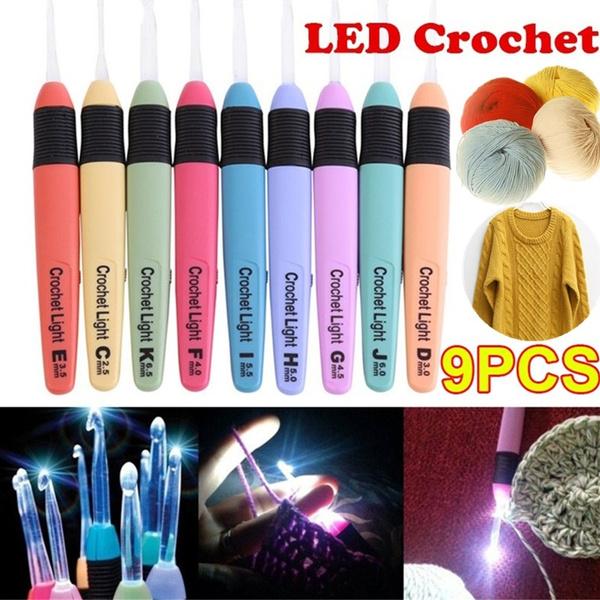 9 Pcs 25mm 65mm Led Light Up Crochet Hook Knitting Needles Weave