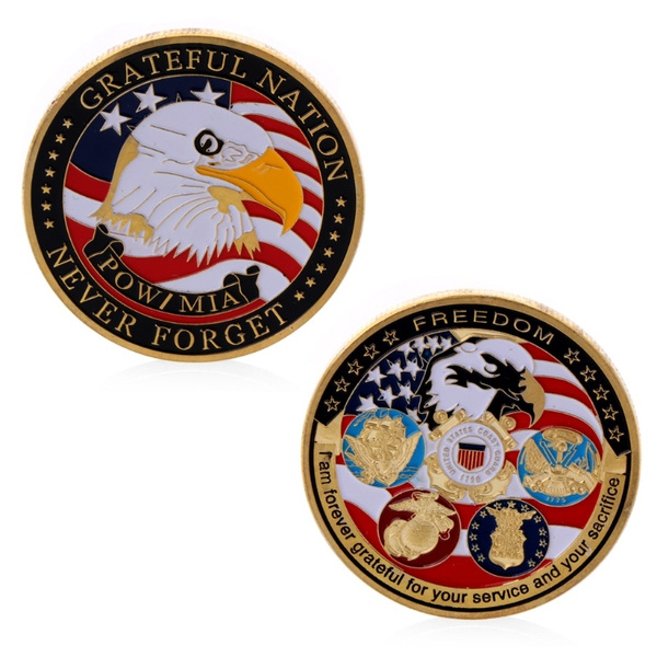 Gold Plated Grateful Nation Freedom Commemorative Challenge Coins Souvenir  Gift SLL