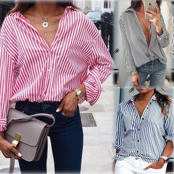 Shirt, long sleeved shirt, loose shirt, Tops