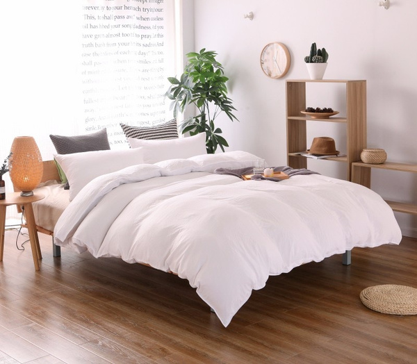 Wish | 3PCS Solid Color Cotton Colored Washer Wrinkle Fabric Duvet Cover Set