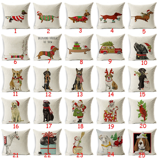 Cotton Linen Christmas Deer Pillow Case Cushion Cover Bed Sofa Home Car Decor
