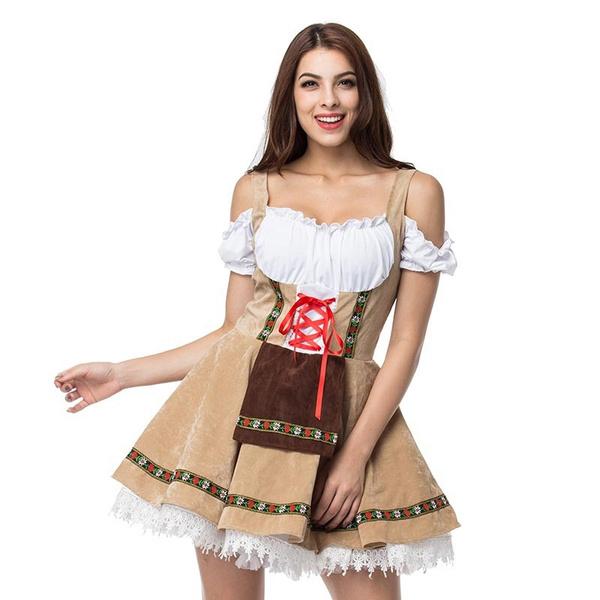 fb9fd4941d Plus Size Maid Fancy Dress Cosplay German Beer Girl Costume Dirndl ...