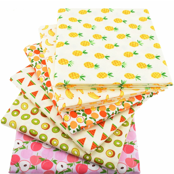 6pcs Lot Cartoon Fruit Printed Cloth 100 Cotton Twill Fabric Fat Quarter Bundle Of Diy Handmade Quilting Patchwork Sewing Baby Bedding Children Sheets Dress Material Wish
