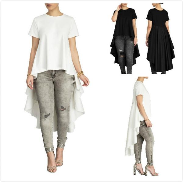 Women Black White A-line T-shirt Dress Hi-low Plus Size Ruffles Dovetail  Hem Tops Summer Lady Short Sleeve Long T Shirts