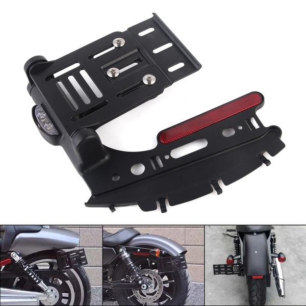 Folding Side Mount LED License Plate Light Bracket For Harley Sportster XL