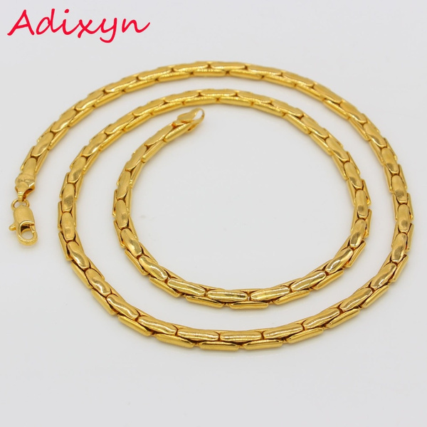 Adixyn Gold Chain Men Jewelry Gold Color Round Popcorn Link Chain Necklace For Men Wish