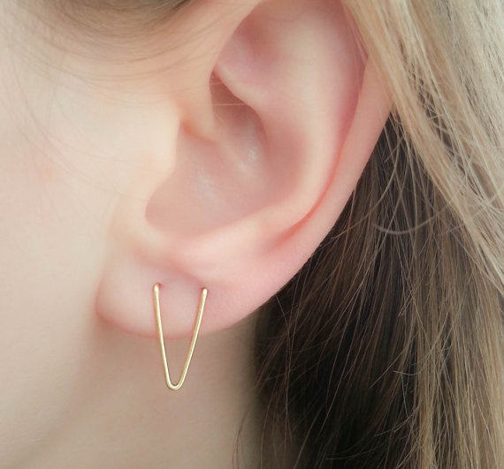 Double Piercing Earring V Earrings Double Piercing Earring Set Double Lobe Earrings Double Piercing Two Hole Earrings Ear Piercing
