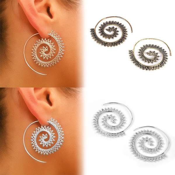 353a09a274e6c Boho Spiral Brass Gypsy Earrings Tribal Ethnic Festival Jewellery Indian  Hoops