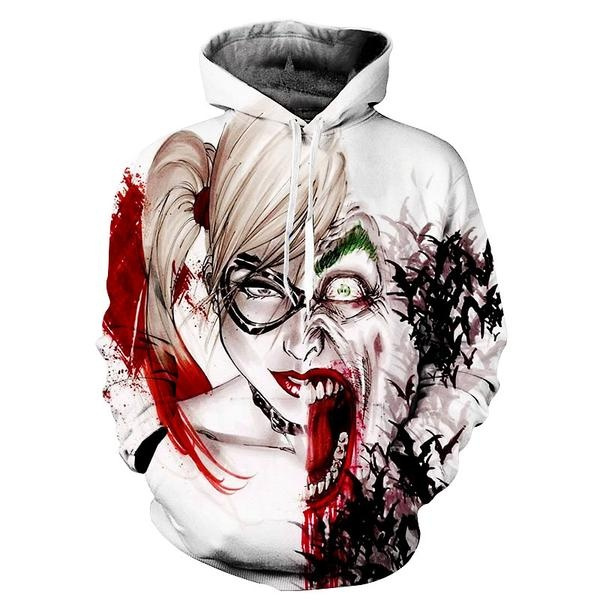 Newest Fashion Womens Mens Suicide Squad Harley Quinn Joker Hoodies 3d Hoodies Pullovers Sweatshirts Anime Funny Cartoon Sweatshirt 2017 New Design