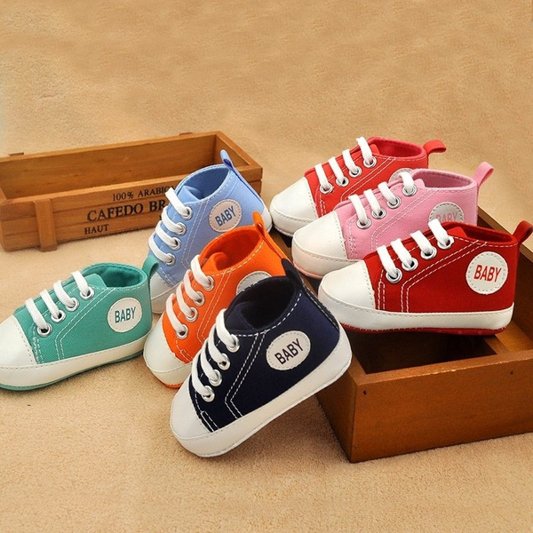 New Toddler Kids Canvas Sneakers Baby Boy Girl Soft Sole Crib Shoes 0-18Months