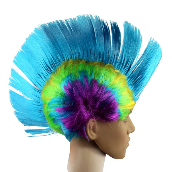 Unisex Mohawk Hair Wig Mohican Punk Rock Fancy Dress Cosplay Party Costume