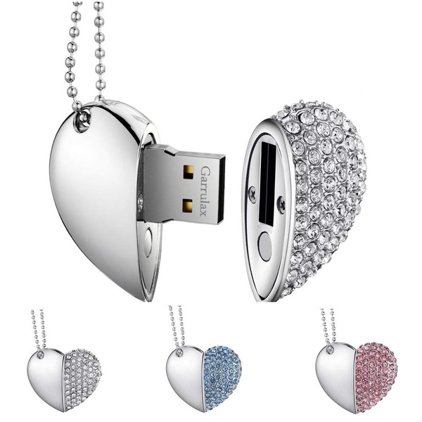 Novelty Crystal Heart Usb 2.0 Flash Drive Memory Stick 8 Gb 16 Gb 32 Gb 64 Gb Pendrive With Necklace by Wish