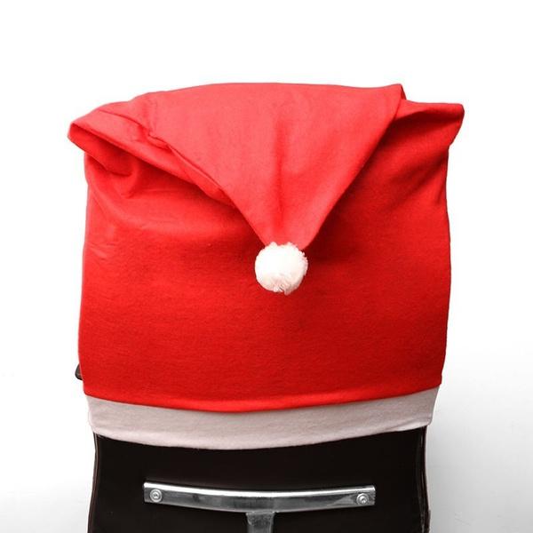 Weihnachtsdeko Stuhl.Stuhlhussen Weihnachten Stuhl Husse Hussen Mütze Rot Weihnachtsdeko Stuhlüberzug