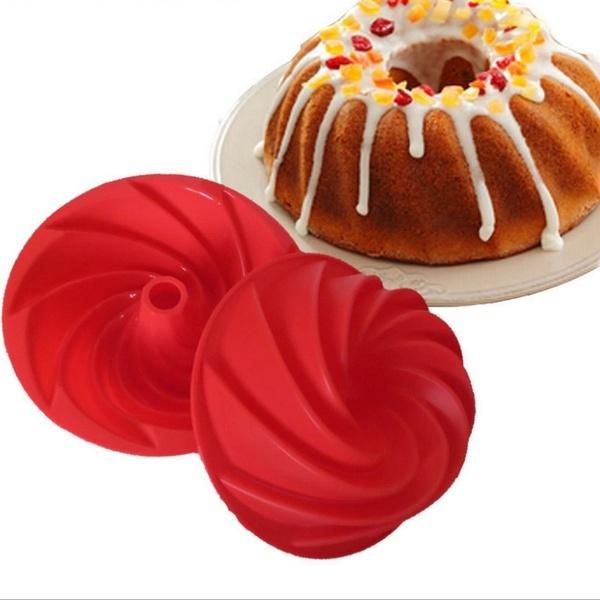 UPORS® Large Spiral Shape Food Grade Silicone Bundt Cake Mold Pan 3d Fluted