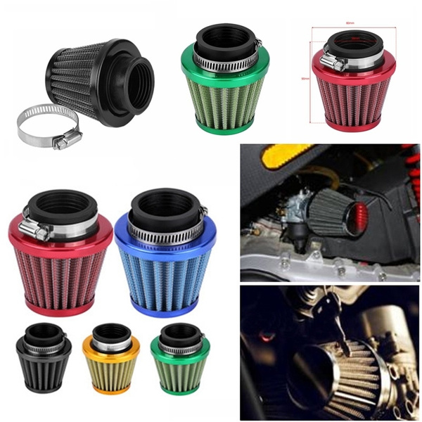 Auto Cold Air Intake Scooter Atv Dirt Pit Bike Motorcycle Air Filter 38mm Universal Motorcycle Clamp-On Air Intake Filter Kit Gold