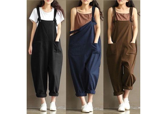 Women Casual Linen Pants Cotton Jumpsuit Strap Harem Trousers Overalls US Stock