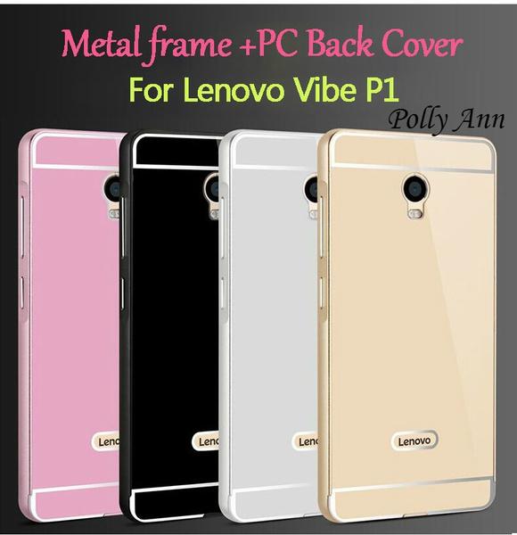 newest ab58c 5cb49 HOT For Lenovo Vibe P1 K5 K5 plus Metal Case Acrylic Back Cover & Aluminum  Frame Bumper Set Phone Bag Cases For Lenovo Vibe P1 Shell (Color: black, ...