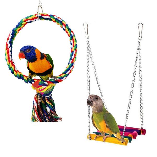 Finch Bird Parrot Toy Hanging Bell Pet Bird Cage Hammock Swing Love Bird