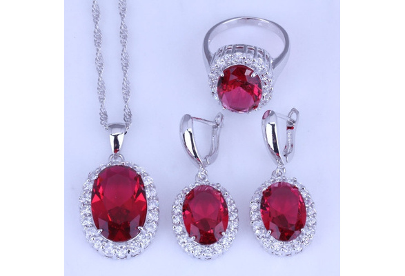 Fashion Jewelry Set 925 Sterling Silver Natural Ruby Gemstone Necklace Earrings Ring Wedding Bridal New