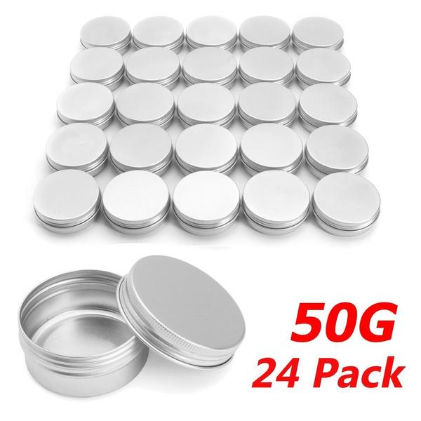 24 X Steel Round Tin Cans 25g Screw Top Lid Storage Beard Lip Balm Empty Can !