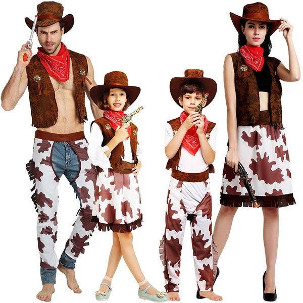 56c3e5aef1ab5 Fashion Halloween costume, costume, cosplay, children's performance, adult  western cowboy costume, stage parent-child Costume