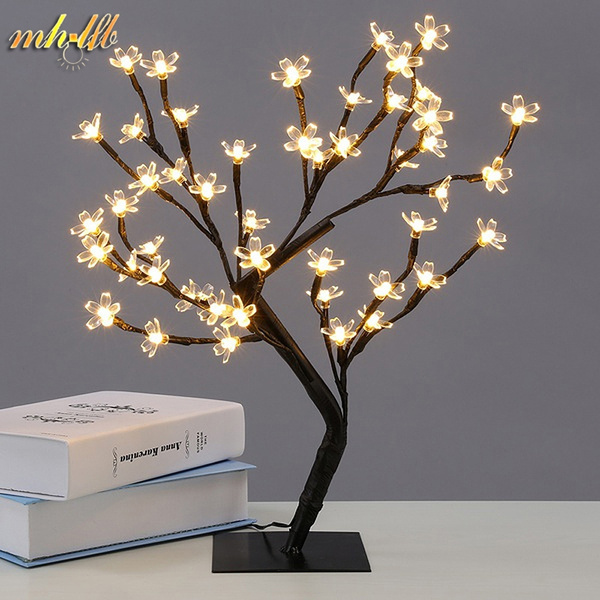Led Cherry Blossom Tree Night Lights Desk Table Lamps Home Indoor Lighting For Wedding Bedroom Christmas New Year Luminaria Decoration Warm
