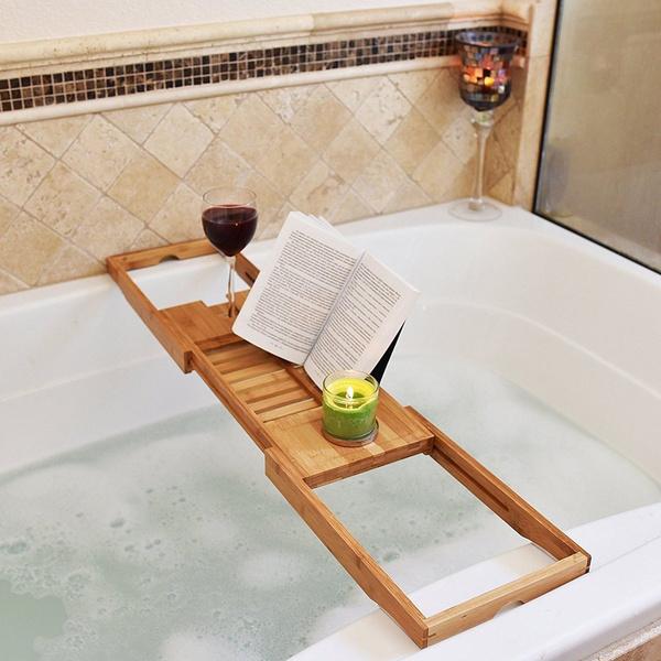 Wish | Bathtub Rack Bamboo Shelf Shower Tub Book Reading Tray Holder ...