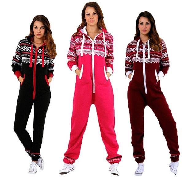 Jumpsuit Weihnachten.Womens Christmas Printed Hoodies Fashion Playsuit Ladies Jumpsuit 2018 Winter Outwear Playsuit Jumpsuit
