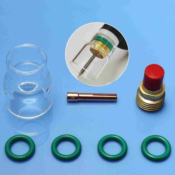 7 Pcs 2.4mm TIG Welding Stubby Torch Gas Lens #12 Pyrex Cup Kit For WP-9//20//25